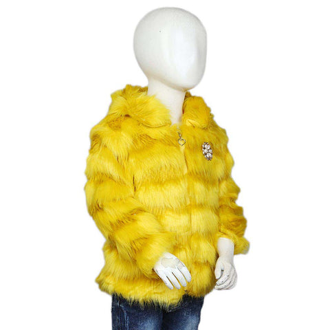 Girls Fur Jacket - Yellow