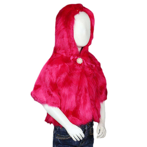 Girls Fur Hooded Upper - Pink