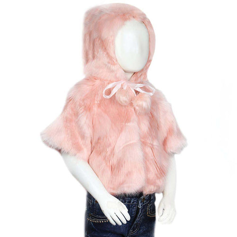Girls Fur Hooded Upper - Tea Pink