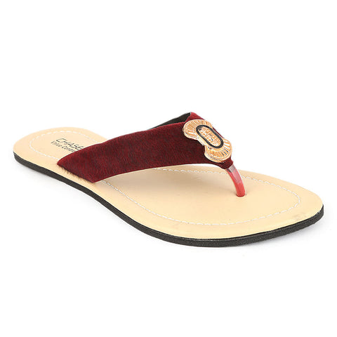 Women's Slipper  (J-521) - Maroon