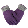 Women's Woolen Fancy Gloves - Purple