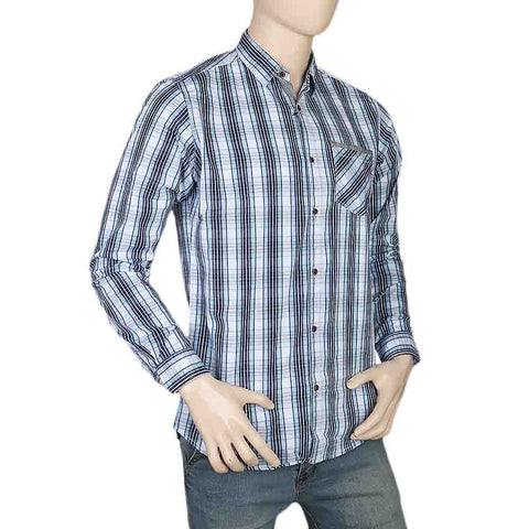 Eminent Slim Fit Check Shirt For Men - Light Blue