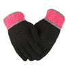 Women's Woolen Fancy Gloves - Black