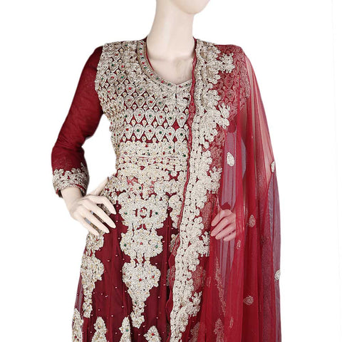 Anarkali Embroidered Net Frock Semi-Stitched Suit - Red