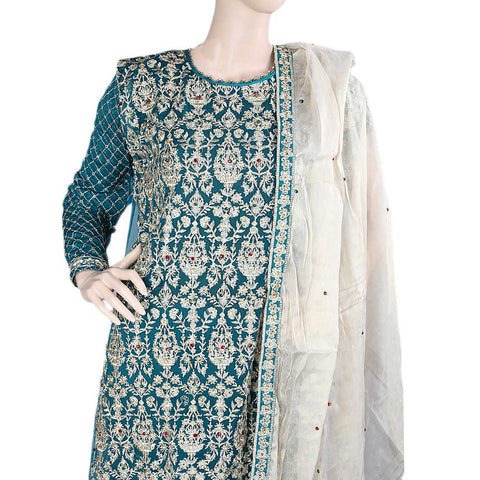 Bridal Dress Chiffon Embroidered Semi-Stitched Suit - Green