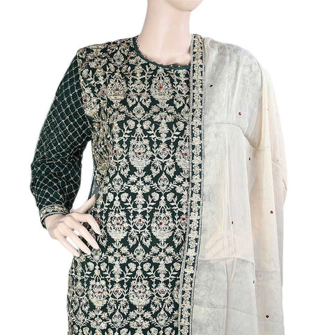 Bridal Dress Chiffon Embroidered Semi-Stitched Suit - Dark Green