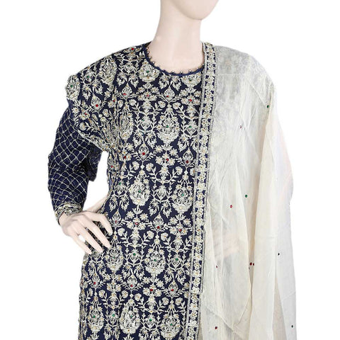 Bridal Dress Chiffon Embroidered Semi-Stitched Suit - Navy Blue