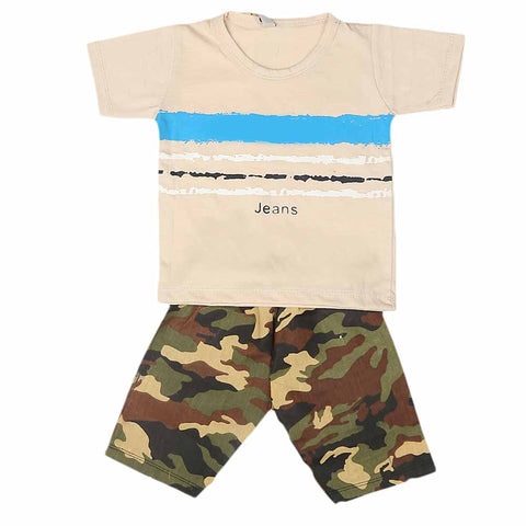 Boys 2 Pcs Suit Half Sleeves - Fawn