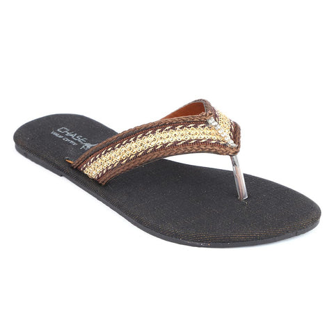Girls Fancy Slippers (KL-004) - Brown