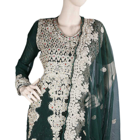 Anarkali Embroidered Net Frock Semi-Stitched Suit - Green
