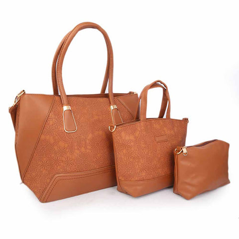 Women's Handbag (18858) 3 Pcs - Brown