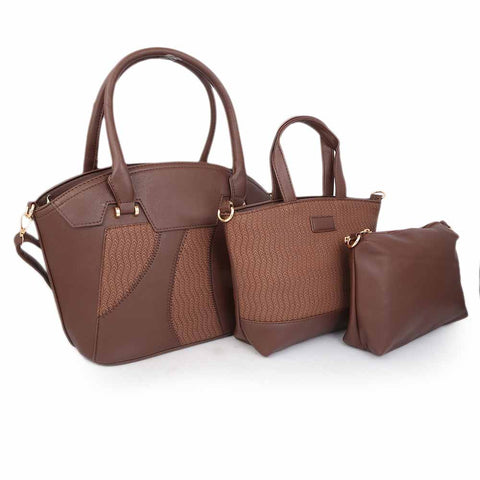 Women's Handbag (5203) 3 Pcs - Coffee