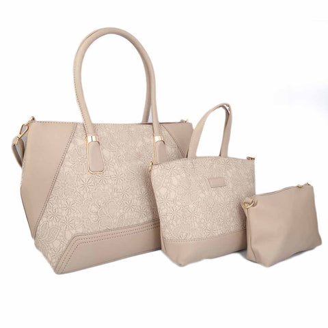 Women's Handbag (18858) 3 Pcs - Apricot