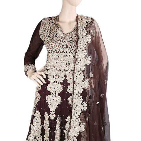 Anarkali Embroidered Net Frock Semi-Stitched Suit - Dark Brown