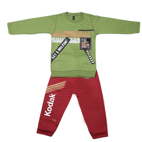 Boys Full Sleeves 2 Pcs Suit - Green