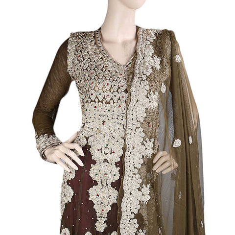 Anarkali Embroidered Net Frock Semi-Stitched Suit - Light Brown