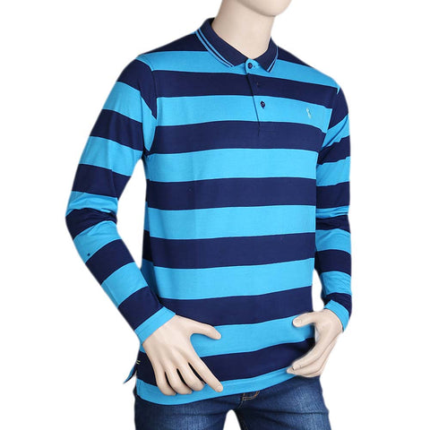 Men's Full Sleeves Polo T Shirt - Blue