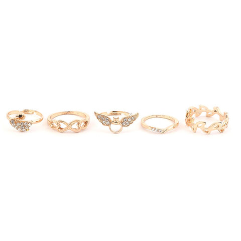 Women's Finger Rings 5 Pcs - Golden