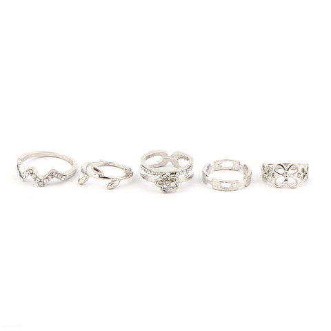 Women's Finger Rings 5 Pcs - Silver