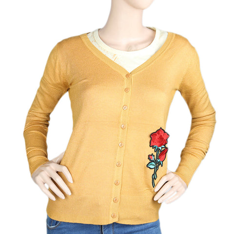 Women's Front Open Sweater - Mustard