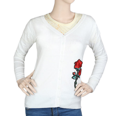 Women's Front Open Sweater - White