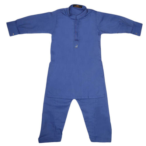 Boys Embroidered Kurta Shalwar Suit - Royal Blue