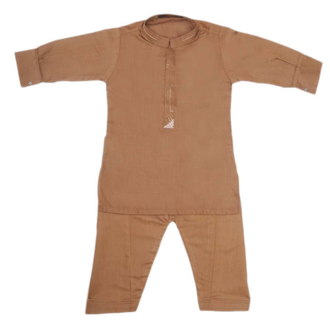 Boys Embroidered Kurta Shalwar Suit - Brown