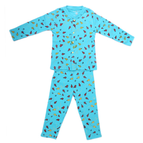 Boys Fancy Sleeping Suit - Blue