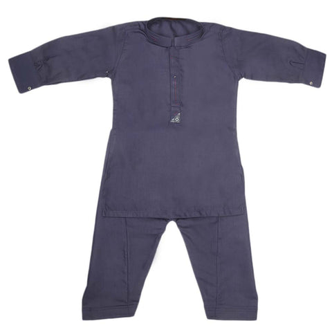 Boys Embroidered Kurta Shalwar Suit - Navy Blue