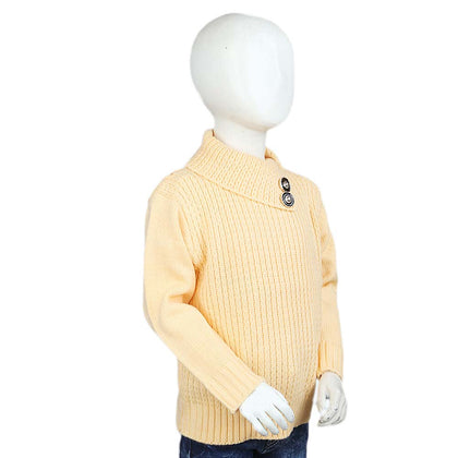 Girls Full Sleeves High-Neck Sweater - Yellow
