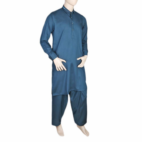 Fancy Shalwar Suit For Men - Steel Blue