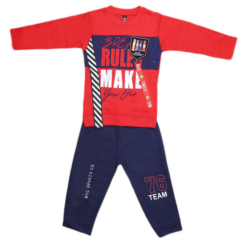 Boys Full Sleeves 2 Pcs Suit - Red