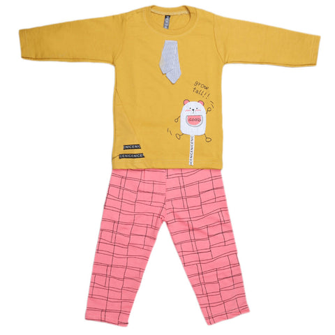 Boys Full Sleeves 2 Pcs Suit - Mustard