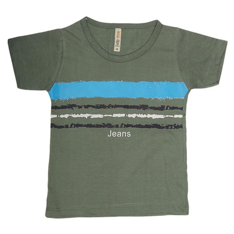 Boys Print T-Shirt  - Green