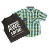 Boys 2 Pcs Check Shirt - Green