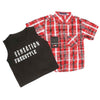 Boys 2 Pcs Check Shirt - Red
