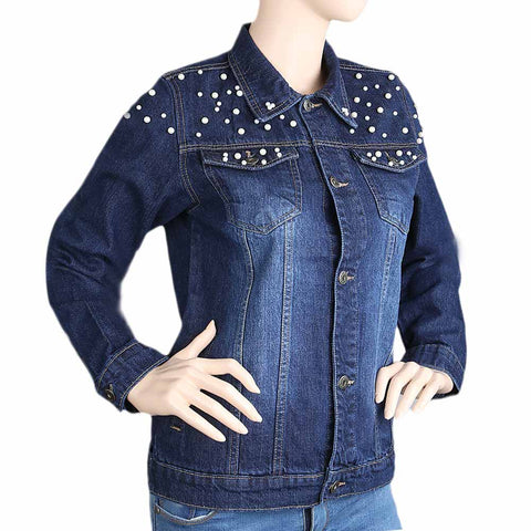 Women's Denim Full Sleeves Jacket - Dark Blue