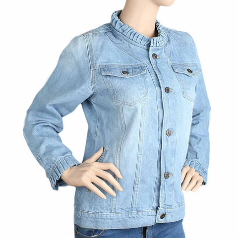 Women's Denim Full Sleeves Jacket - Light Blue