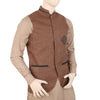 Men's Fancy Jute Waist Coat - Brown