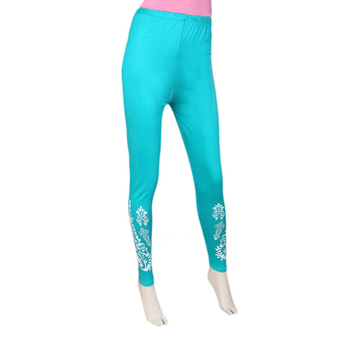 Women's Printed Tight- Sea Green