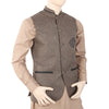 Men's Fancy Jute Waist Coat - Olive Green