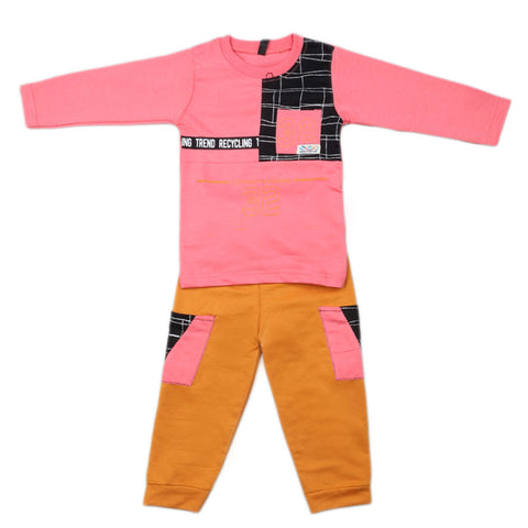 Boys Full Sleeves 2 Pcs Suit - Pink