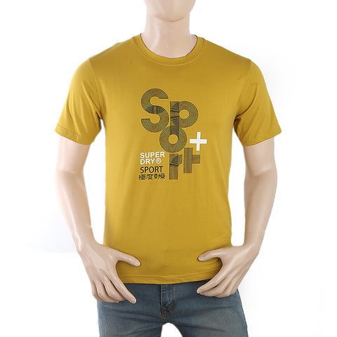 Men's Half Sleeves Printed T-Shirt - Mustard