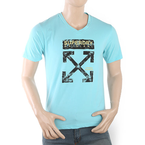 Men's Half Sleeves Printed T-Shirt - Blue