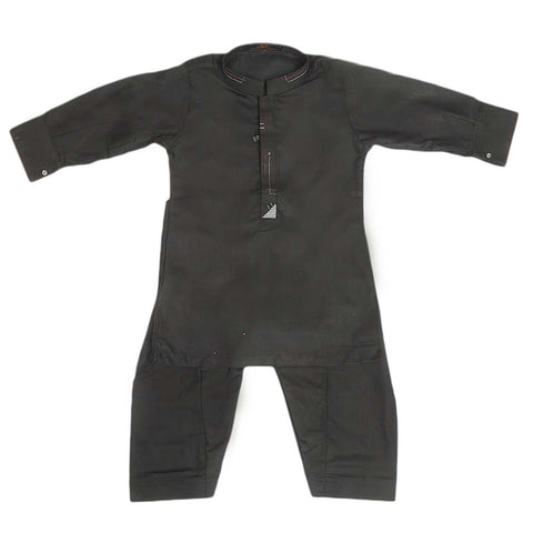 Boys Embroidered Kurta Shalwar Suit - Black