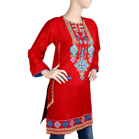 Women's Embroidered Kurti - Red