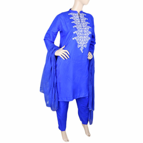 Eminent Fancy Embroidered 3 Piece Stitched Suit For Women - Royal Blue