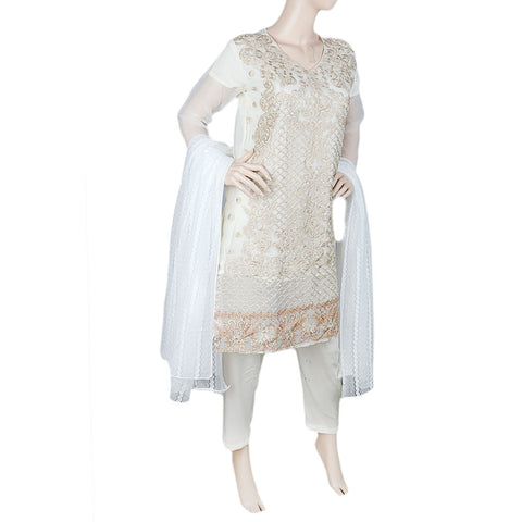 Eminent Fancy Embroidered 3 Piece Stitched Suit For Women - Cream