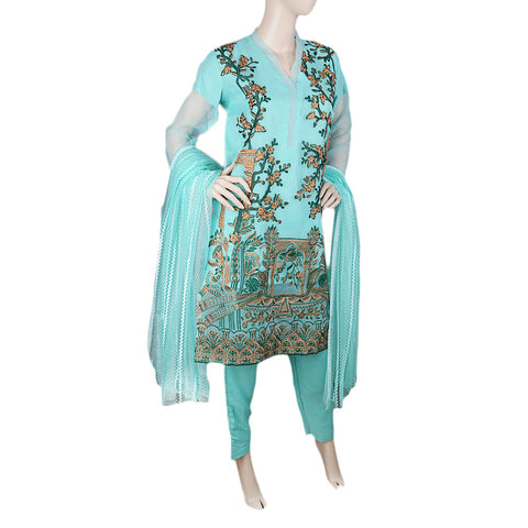 Eminent Fancy Embroidered 3 Piece Stitched Suit For Women - Sea Green