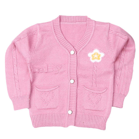 Newborn Girls Full Sleeves Sweater - Light Purple